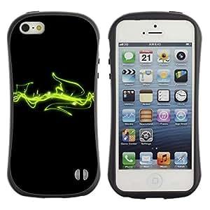 "Pulsar iFace Series Tpu silicona Carcasa Funda Case para Apple iPhone SE / iPhone 5 / iPhone 5S , Líneas Verdes Espacio Cosmos Arte Energía"""