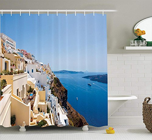 (European Cityscape Decor Collection, Cityscape on the Edge of Cliff Greece Island Land with Mediterranean Culture Decor, Polyester Fabric Bathroom Shower Curtain, 84 Inches Extra Long, Multi)