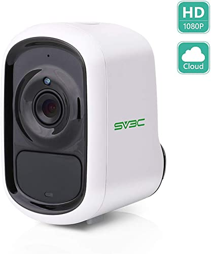 Outdoor Indoor Battery WiFi Wireless Camera, SV3C 1080P HD Night Vision Camera Rechargeable, Smart PIR Human Motion Detect IP Camera, Two-Way Audio, IP65 Waterproof, Cloud Storage 128GB SD Card Slot