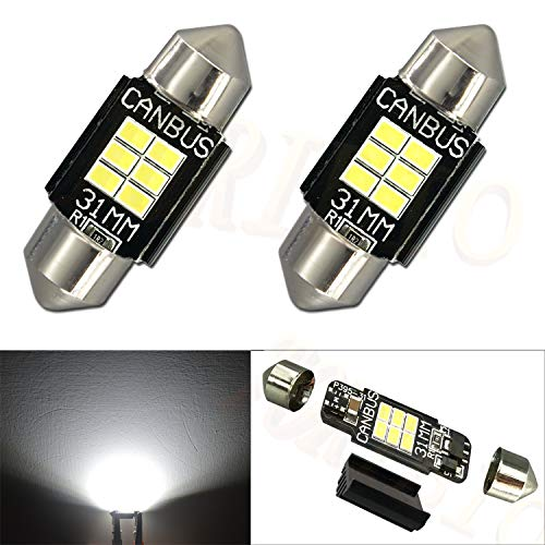 "TORIBIO Philips 3020 Chipset Festoon 31mm Canbus Error Free LED Bulbs 400 Lumens for Interior Car Lights License Plate Dome Map Door Courtesy 1.25"" DE3175 6428 Xenon White 2 Pcs"