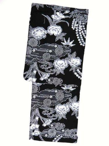 敬な心のこもった音浴衣 女 女性 レディース 変り織り浴衣(フリーサイズ)【黒地、雲に鈴蘭と牡丹】 TTY306