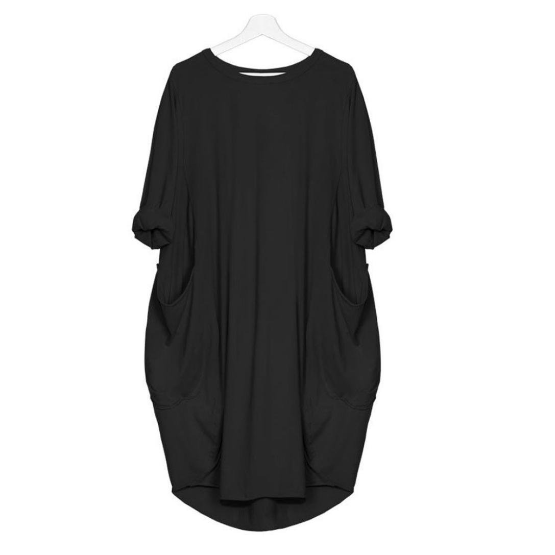 FUNIC Fashion Women's Loose Long Sleeve Dress Ladies Crew Neck Casual Long Tops Dress Plus Size with Pockets (Black, M)