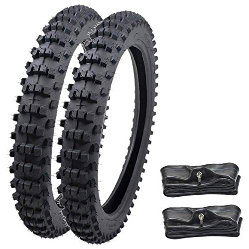 WPHMOTO Front 70/100-17 and Rear 90/100-14 Tire and Inner Tube Set For Motorycle Trail Off Road Dirt Bike Motocross Pit ()