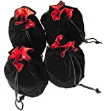Drawstring Dice Pouches Black Velvet, Red Satin Lined, 3 x 5 Inches Bundle of 4 Pouches