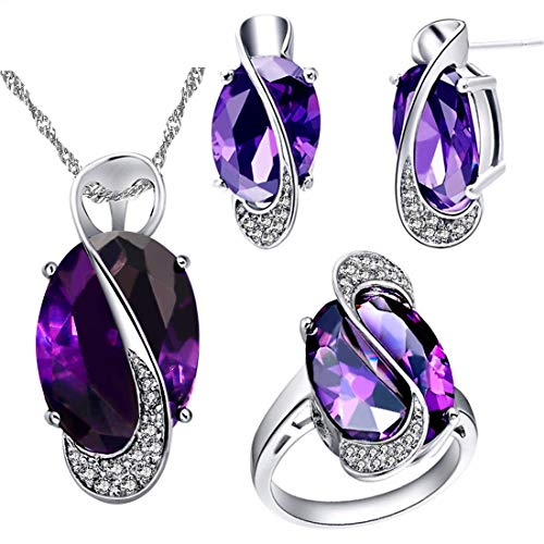 Uloveido White Gold Plated Purple Crystal Wedding Anniversary Charm Necklace Rings and Earrings Women Jewelry Set for Birldal Girls(Purple, Size 10) T472