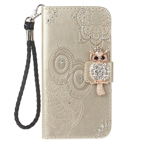 EUWLY Samsung Galaxy Note 8 Case Samsung Galaxy Note 8 Leather Wallet Case With Hand Wrist Strap Flower and Owl Embossed PU Leather Case with Bling Glitter Diamond Design Ultra Slim Anti-Shock Anti-Sc Gold C41Jp