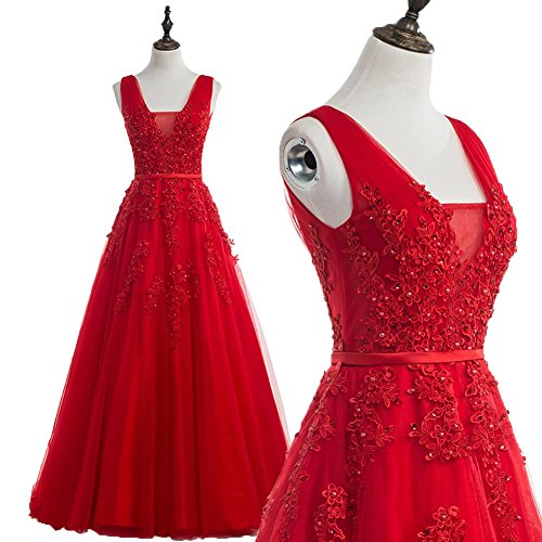 BessWedding Teen's Floor Length Sleeveless Prom Dress with Bead, Red S18w
