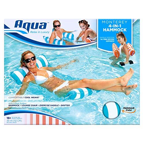 Aqua Monterey 4-in-1 Multi-Purpose Inflatable Hammock (Saddle, Lounge Chair, Hammock, Drifter) Portable Pool Float, Light Blue by Aqua (Image #4)