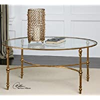 40 Golden Forged Iron Oval Glass Coffee Table