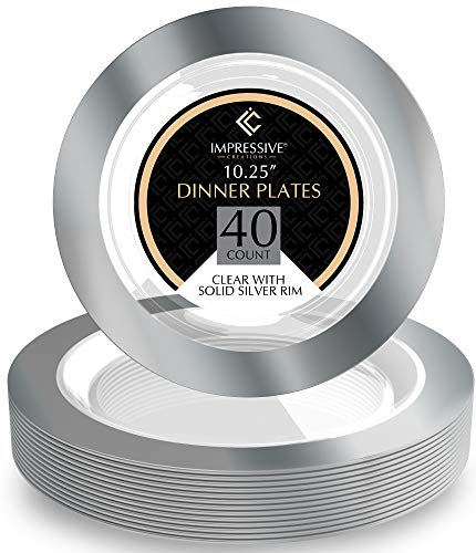 Premium Heavy-weight Round Plastic Plates - Clear Dinner Plates Solid Silver Rim - Superior Plastic - Pack of 40 - 10.25 Inches Plates - Perfect for a Party ()