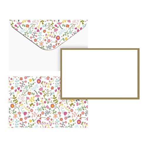 "Graphique Doodle Floral Flat Note Card Stationery with Floral Print and Gold Border, 50 Note Cards and Matching Envelopes, 5.625"" x 3.5"""