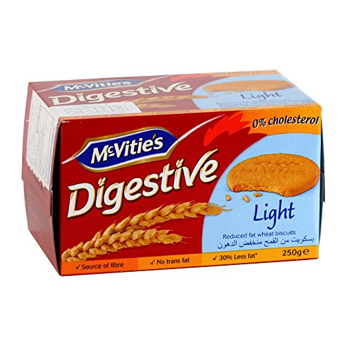 McVitie's, Digestive, Light, Reduced Fat Wheat Biscuits, net weight 250 g (Pack of 1 piece)