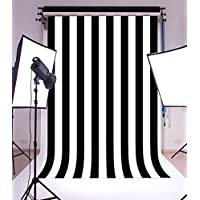 Laeacco Customizable 5x7ft Vinyl Photography Background Backdrop Dark Blue Blurry Black and White Stripes theme Backdrop Photo Studio Props 1.5(w)x2.2(h)m