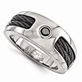 Edward Mirell Titanium with Cable and Black Spinel 8mm Wedding Band - Size 13