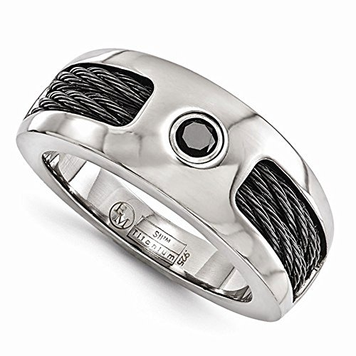 Edward Mirell Titanium with Cable and Black Spinel 8mm Wedding Band - Size 13 by Edward Mirell