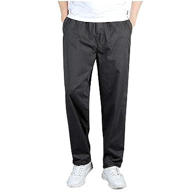 Pantalones Hombre Largo Verano Cintura Elastica Suelto Ajuste ...