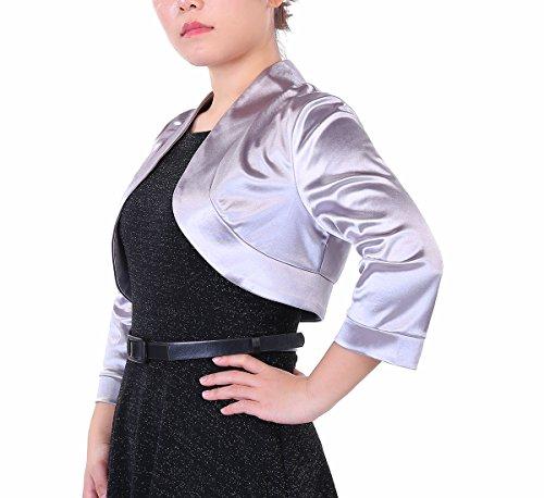 Mujer Torera Fiesta Gris para Manga 4 Timormode 3 Satén Elegante Yzw7qq85