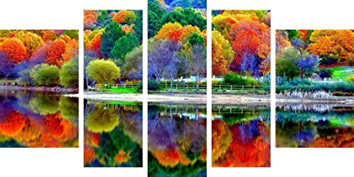 Startonight Canvas Wall Art All Forest Colors in Water Reflection, Flowers Painting USA Design for Home Decor, Modern Framed Set of 5 Total 35.43 X 70.87 Inch by Startonight