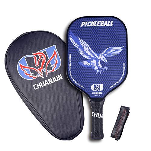 - Pickleball Paddle, Graphite Pickleball Racket, Premium Wood/Carbon Fiber Face Honeycomb Composite Core/Ultra Cushion Grip Low Profile Edge Bundle Pickleball Paddles Racquet (Eagle-Blue, Graphite)