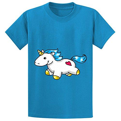 Price comparison product image Likeu Chunky Unicorn Child Personalized Crew Neck Tee Blue