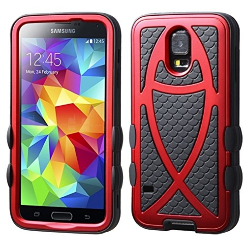 Asmyna Titanium Fish Hybrid Protector Cover for Samsung Galaxy S5 - Retail Packaging - Red/Black