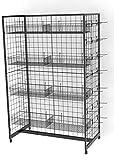 Fixture Displays Gridwall Fixture w/ Wheels, (12) Baskets & (50) 6'' Peg Hooks, Gondola Design - Black 19371 19371