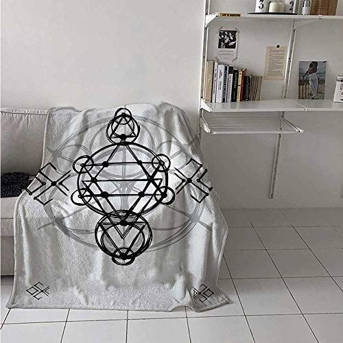 - maisi Sacred Geometry Digital Printing Blanket Simplistic Seed of Life Symbol Vortex Motion with Spheres Print Summer Quilt Comforter 62x60 Inch Black Silver White