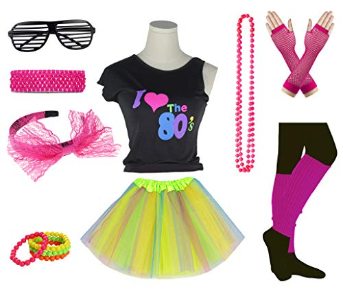 Girls I Love The 80's Disco T-Shirt for 1980s Theme Party Outfit (Rainbow01, 8-10 Years) -