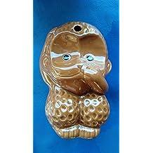 "Brown Ceramic Monkey Speak No Evil Cute 6"" x 4"""
