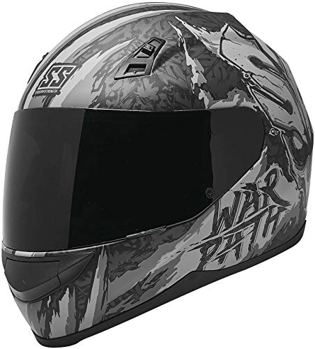 Speed and Strength SS700 War Path Motorcycle Helmet Black/Charcoal MD