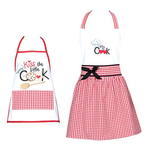 Kay Dee Designs Matching Mommy and Me Woman and Child's Kitchen Apron Set - Kiss the Cook (2pc) - Cooking and Baking Aprons for Women and Kids