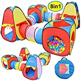 Toy 8 in 1 Pop-up Play Tent Tunnel Including 4 Kids Play Tunnels, 2 Cubic Tents and 2 Triangle Tents Perfect for Ball Pit Playing