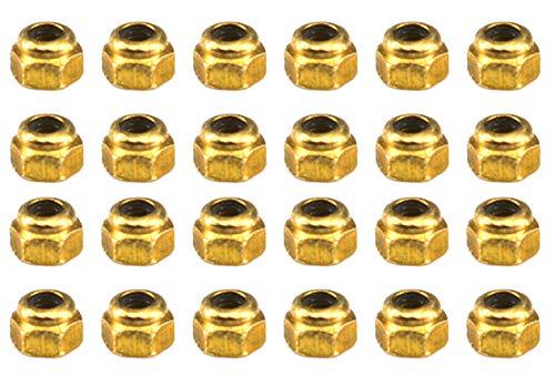 Professional Fingerboard Lock Nuts, Nylon Insert, Gold (Pack of 24) - Teak Tuning