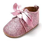 LFHT Glitter Baby Lace Up Shoes Sneaker Anti-Slip Soft Sole Toddler Prewalker (0~18 Month) (6-12 Months, Pink)