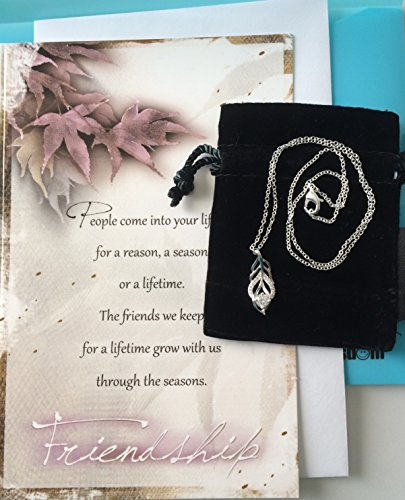 Smiling Wisdom - Leaf with Clear CZ Friendship Gift Set - Reason Season Lifetime Friendship - Unique Woman Gift Set For BFF Best Friend - Woman - .925 Silver Plated