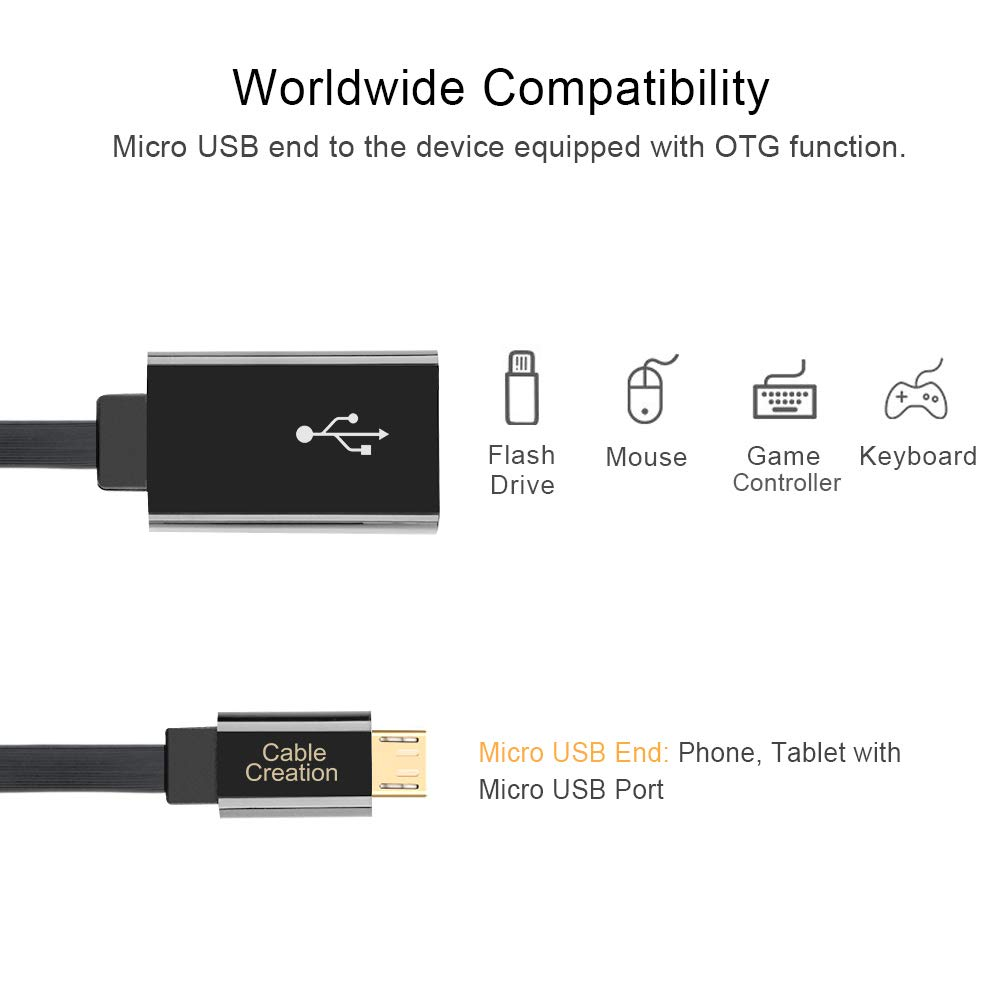 2-Pack CableCreation Micro USB 2.0 OTG Cable Flat On The Go Adapter Micro USB Male to USB Female for Samsung S7 S6 Edge S4 S3 Android or Other Smart Phones Tablets with OTG Function 6 Inch Black
