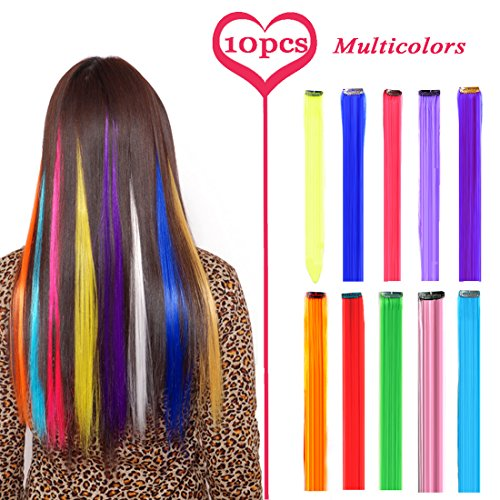 BURHAIR 22 Inch Colored Highlights Straight Hair Clip Extensions Synthetic Hairpieces for Halloween, Party Multiple Colors 10 Pieces -