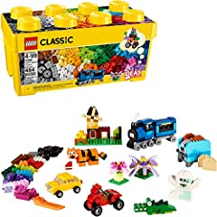 Product Description Designed with builders of all ages in mind, this collection of LEGO bricks in 35 different colors will encourage kids play with building toys, and inspire creative play. Windows, toy eyes, and lots and lots of toy wheels a...