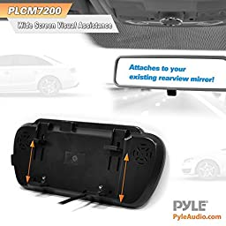 Pyle Backup Car Camera & Rear View Mirror Monitor Screen System-Parking & Reverse Safety Distance Scale Lines, Waterproof & Night Vision Cam with IR LED Lights, 7\