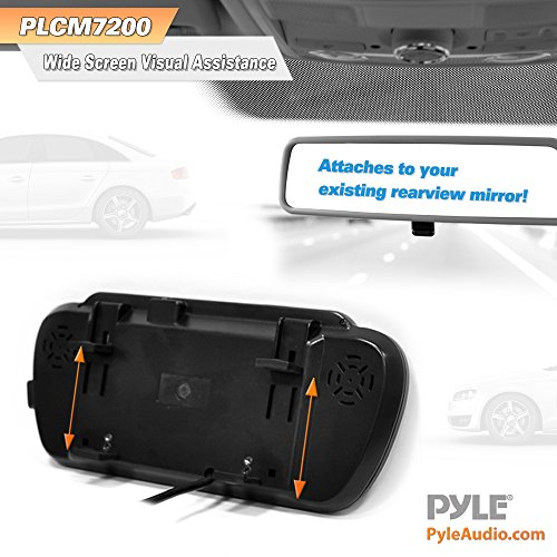Pyle Backup Car Camera & Rear View Mirror Monitor Screen System-Parking & Reverse Safety Distance Scale Lines, Waterproof & Night Vision Cam with IR LED Lights, 7'' LCD Display for Vehicles-(PLCM7200) by Pyle (Image #4)