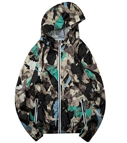 Green Zip Men Print and Outwear Floral Big Casual Tall Sunscreen Howme Jacket FPx8n44