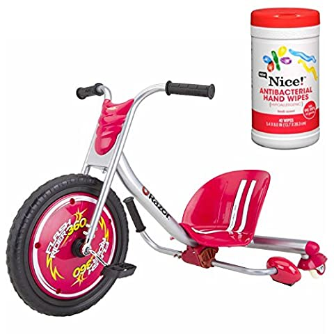 Razor FlashRider 360 Sparking Trike Ride-On Toy in Red with Antibacterial Hand Wipes