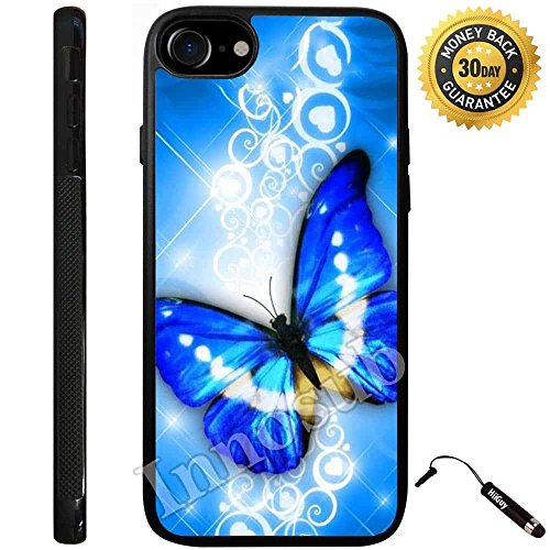 Custom iPhone 7 Case (Blue Butterfly In Flowers) Edge-to-Edge Rubber Black Cover with Shock and Scratch Protection | Lightweight, Ultra-Slim | Includes Stylus Pen by Innosub (Flower Rubber Butterfly)