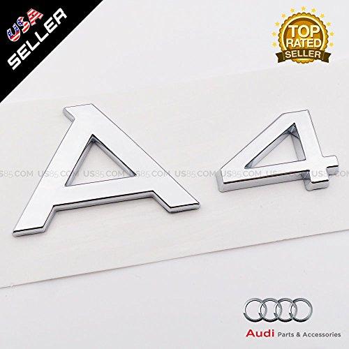 US85 OEM ABS Nameplate Audi A4 Chrome Emblem 3D Trunk Logo Badge Decoration