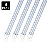 4 Pack 8FT 65W T8 LED Light Tube 5000K Double Row Clear Cover FA8 Replacement 150W Fluorescent Lamp Shop Light Bulb, Single Pin FA8 Base Dual-Ended Power Daylight White, AC 85-277V