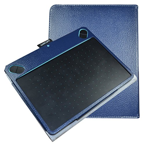 Price comparison product image Mama Mouth Slim-Book Folio Carry PU Leather Cover for Wacom Intuos Draw CTL490DW CTL490DB / Art CTH490AK CTH490AB / Comic CTH490CK CTH490CB / Photo CTH490PK Digital Drawing Tablet, Dark Blue