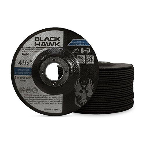 25 Pack Black Hawk 4-1/2'' x .045 x 7/8'' Arbor Depressed Center Cut Off Wheels - Metal & Stainless Steel Type 27