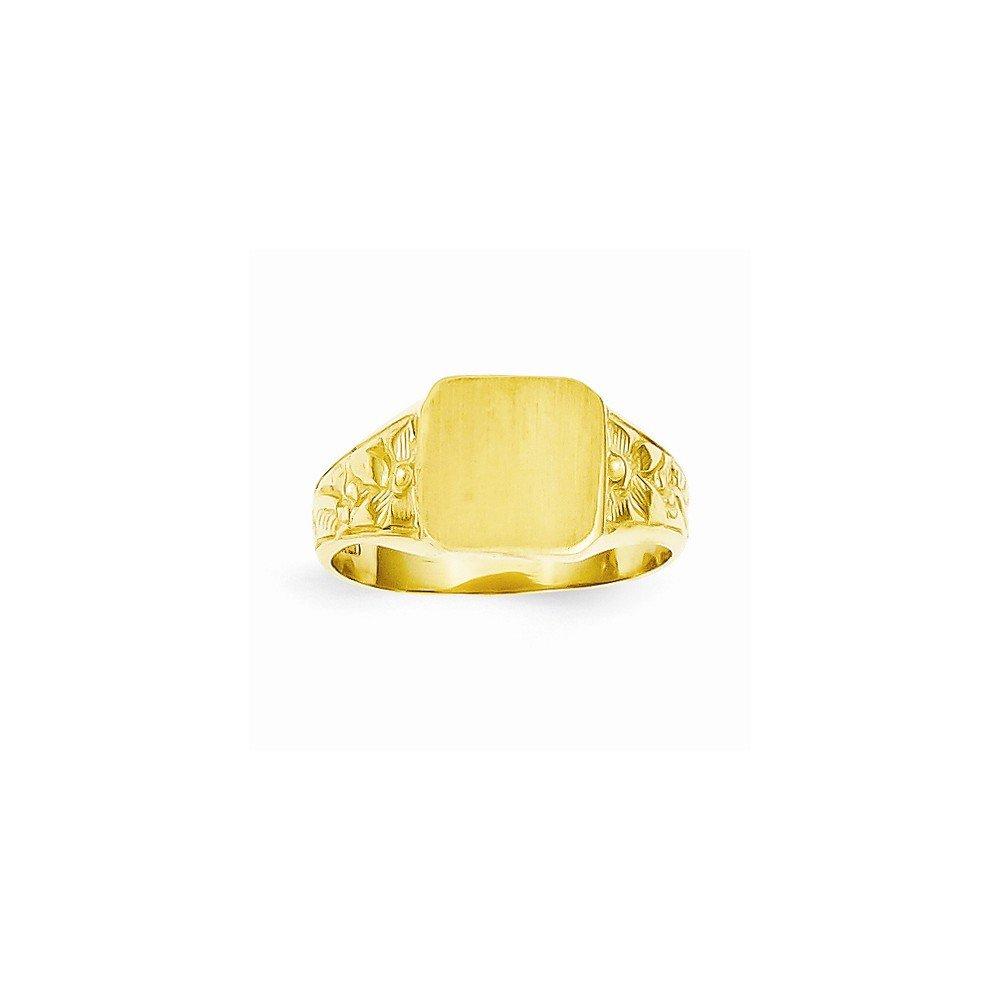 14K Square Satin-top Baby Signet Ring