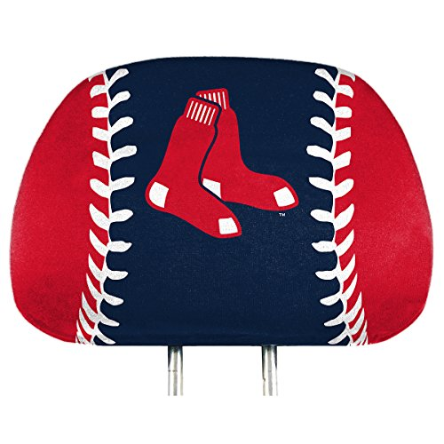 ProMark Boston Red Sox Printed Full Color 2-Pack Head Rest Covers Elastic Auto - Sox Seat Covers Boston Red