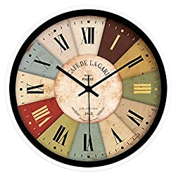 Moju Super Silent Wall Clocks Non Ticking Quiet Sweep Decorative Clocks for Living room Bedroom Dining room Office , black metal paint box, 12 inches
